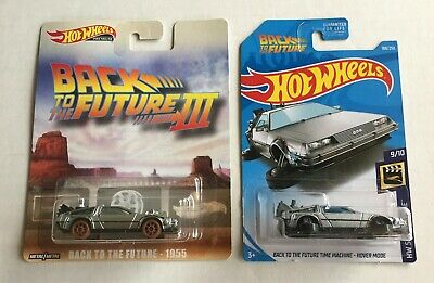 2019 Hot Wheels Back To The Future III Time Machine Retro 1955 & Hover Mode Lot