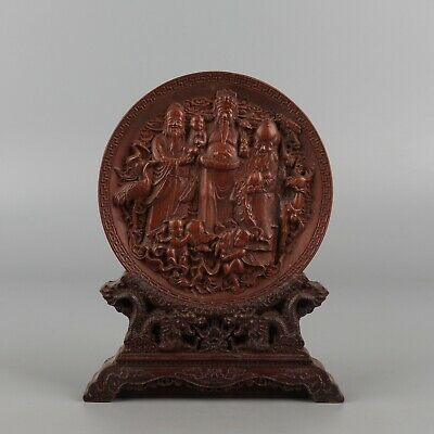 Chinese Exquisite Hand-carved Fulushou God Carving Boxwood screen statue