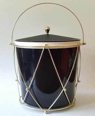 UNUSED Mid-Century Gold Metal Wire Design Black THERMOS Ice Bucket Model 9940