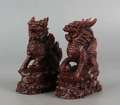 Chinese Exquisite Hand-carved Kirin Carving Boxwood statue a pair
