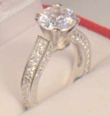 3.00 Ct Round Antique Style Diamond Engagement Ring Solitaire White Gold ov Sz 8