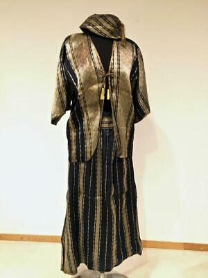 Ethnic Vintage Middle East Blue w/ Gold Thread Outfit: Tunic, pants, hat, belt