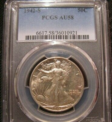 Bu 1942-S Walking Liberty Half Dollar Pcgs Au 58