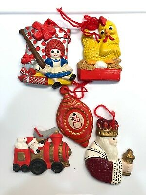 Vintage Ceramic Christmas Ornaments Hand Painted Raggedy Ann Bell Wiseman Lot 5