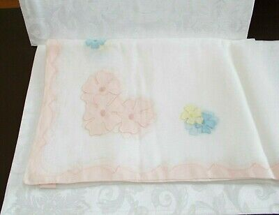 Vintage - Marghab White & Multi-Colored Wild Rose Tablecloth. Made In Madeira