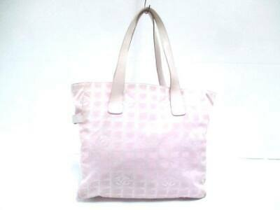 01870e7539ad Auth CHANEL New Travel Line Tote GM Pink Nylon Jacquard Leather Shoulder Bag