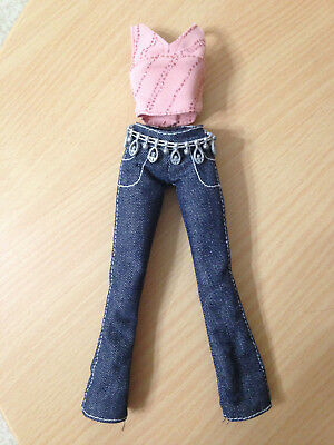 Barbie My Scene Shopping Spree Delancey Doll/'s Jeans Denim Cropped Pants Outfit