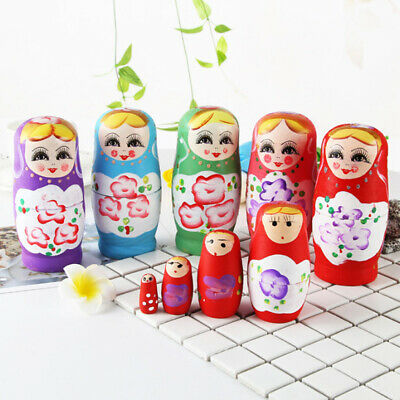 Cute Matryoshka Russian Nesting Dolls Belarusian Girl Babushka Wooden Set 5 Pcs