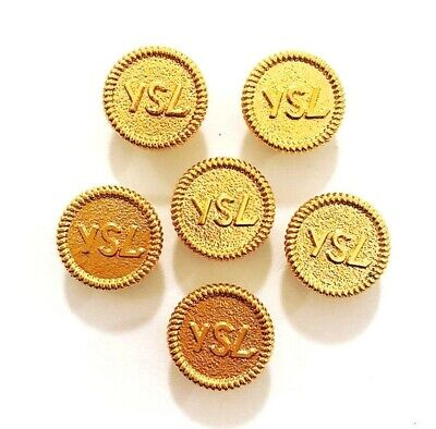 YSL Buttons- Set x 6 YSL Goldtone Logo Buttons - New Condition