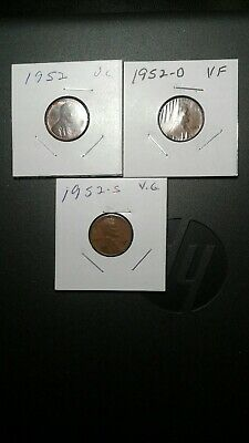 1952 PDS Lincoln Wheat Penny Set v.g.