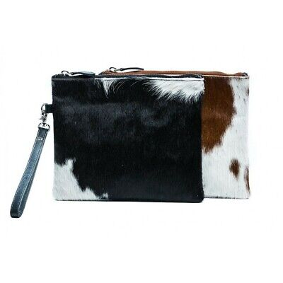 Jodie Cowhide Clutch Bag With Removable Wrist Strap - Brown