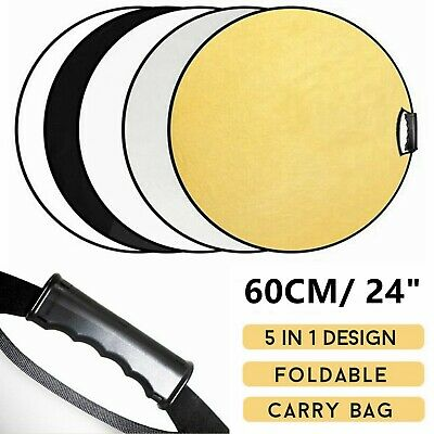 """5in1 60cm 24"""" Studio Photography Photo Collapsible Light Reflector & Handle Grip"""