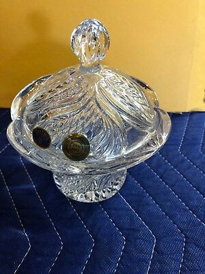 Vintage Bohemia Lead Crystal 24% PbO Candy Dish with lid Made In Czech Republic