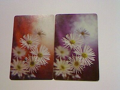 2 Single Swap/Playing Cards - Pair White Daisies Flowers
