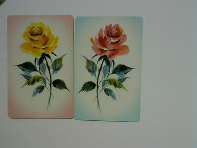 2 Single Swap/Playing Cards - Pair Flowers Roses# Pale
