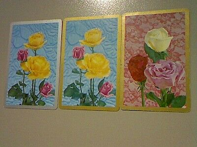 3 Single Swap/Playing Cards -Set Flowers Roses Silver/Gold Borders(Blank Backs)#