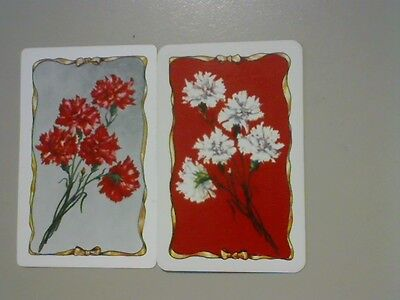2 Single Swap/Playing Cards - Pair Flowers Carnations#