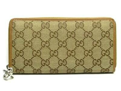 88b5f765ea4 Auth GUCCI GGTwins GG 233025 Beige DarkBrown Jacquard Leather Long Wallet