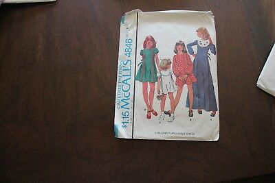Vintage sewing pattern. McCalls 4846. Size 6. Dresses in 2 lengths. 1975.