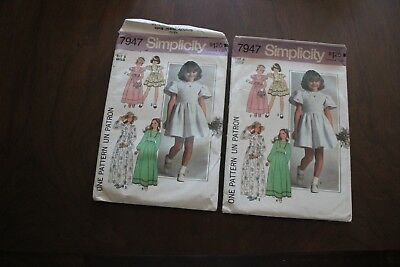 2 vintage sewing patterns Simplicity 7947. 1977. Size 5, 6. Dresses in 2 lengths