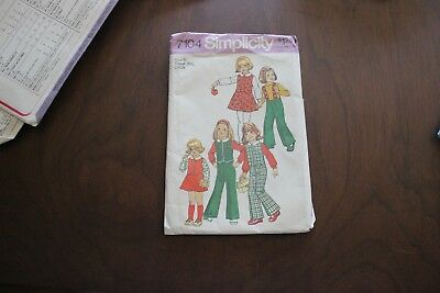 Vintage sewing pattern. Simplicity 7104. Size 6x. pants, skirt, top. 1975