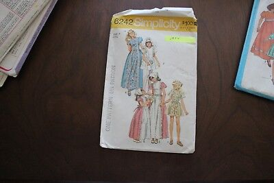 Vintage sewing pattern. Simplicity 6242. Size 7. Dress 2 lengths, scarf. 1974