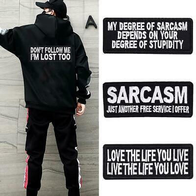 Words Slogan Badge Embroidered Iron On Patches Fabric Sticker Clothes Bags