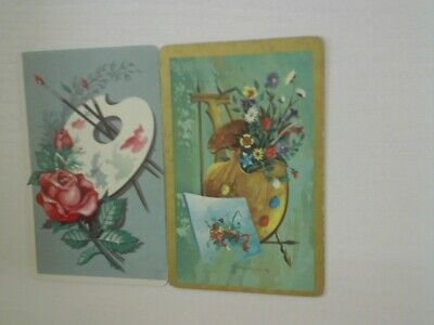 2 Swap/Playing Cards - Flowers and Painting Easels#