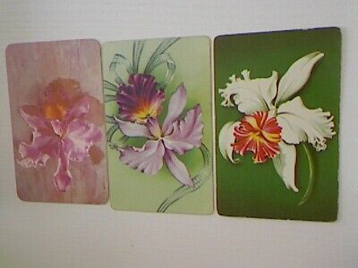 3 Swap/Playing Cards - Assorted Flowers