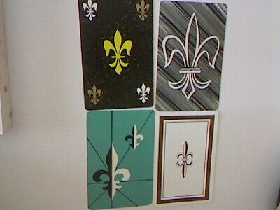 4 Swap/Playing Cards - Assorted Fleur de Lis Designs (1 X Blank Back)#