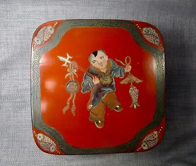 """Antique Chinese Red Lacquer Lidded """"Good Fortune""""  Rare Marriage Box"""