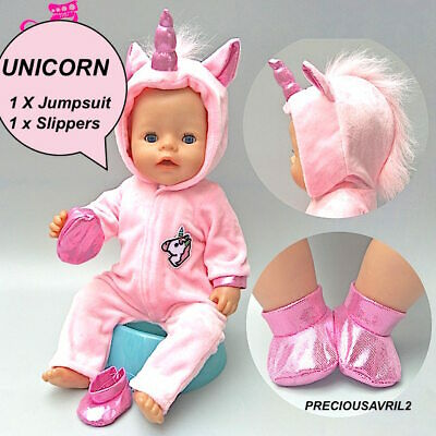 Baby born doll clothes fits 43 cm American Girl Pink Unicorn 2 piece velour set