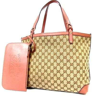 453dbff4a52 AUTHENTIC GUCCI GGOLD Platedattern Tote Bag Canvas Leather Used ...