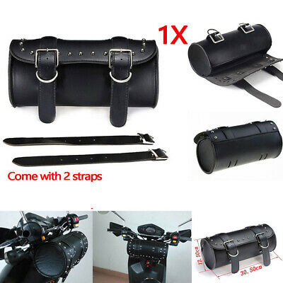 PU Leather Motorcycle Tool Bag Fork Handlebar Buckle Bags Black for Harley