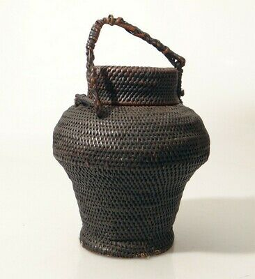 Superb Antique Woven Lidded Basket Indonesia