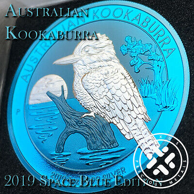In Stock 2019 1Oz 999 Silver Coin Space Blue Edition Australia Kookaburra Coa