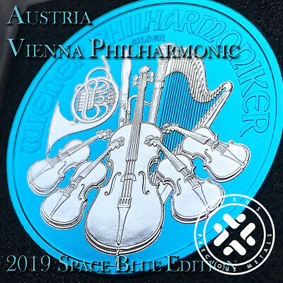 2019 1 Oz 999 Silver Coin - Space Blue Edition Austria Vienna Philharmonic Coa