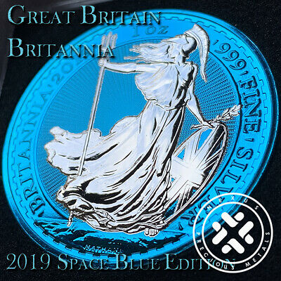 2019 1 Oz 999 Silver Coin - Great Britain Britannia Space Blue Edition With Coa