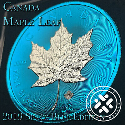 2019 1 Oz 999 Silver Coin - Canada Leaf Space Blue Edition With Coa