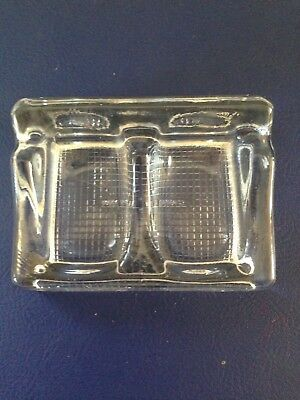 Vintage Heavy Glass Double Inkwell & Pen Rest/paper Clip Holder Made In England