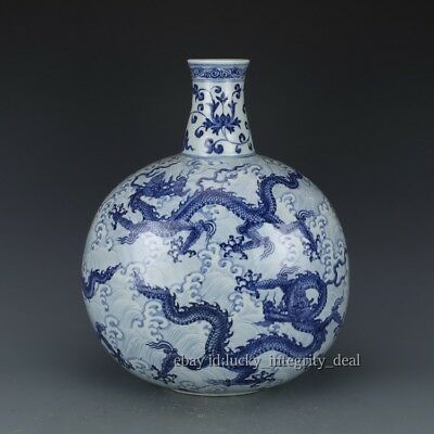 Huge Chinese Antique Blue and white Dragons Round Porcelain Stick Bottle Vase