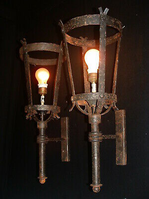 Vintage Large French wrought iron sconces Lanterns France 2 pairs available