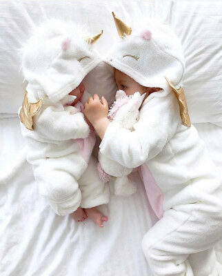 UK Stock Unicorn Newborn Kid Baby Girl Hooded Flannel Romper Outfit Warm Clothes
