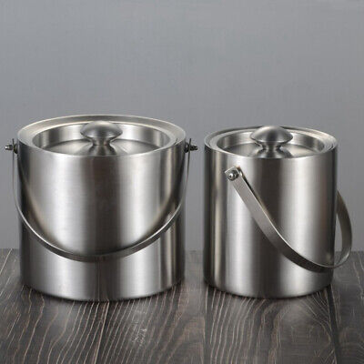2/3L Stainless Steel Bar Hotel Double Layer Beer Wine Cooling Ice Bucket Healthy