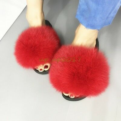 1201e668990d5 Luxury Large Fluffy Real Fox/Raccoon Fur Women Slippers Shoes Flat Slides  Sandal