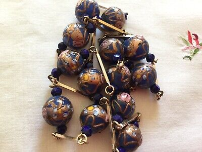 Vintage Art Deco Blue Murano Glass Beads / Gold Tone Long Necklace c1920/30's