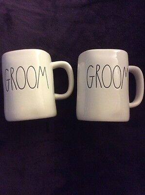 NWOT Rae Dunn GROOM GROOM SET Coffee Tea Mugs Fast Careful Ship LGBT
