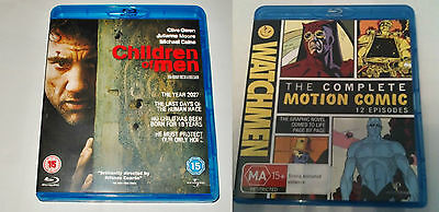 Children of Men & Watchmen the Complete Motion Comic on Blu-Ray. Like New!
