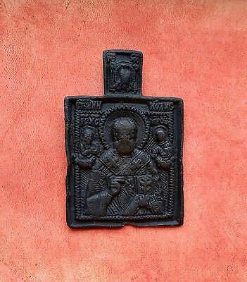 Ancient bronze icon on a body Sv.Nikolay17 century. Big. Very Rare.