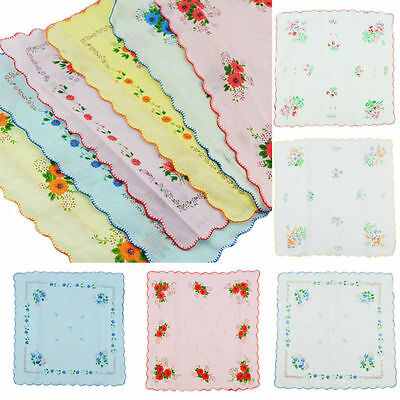 12pcs/Set Lot Ladies Women Vintage Cotton Quadrate Hankies Floral Handkerchief
